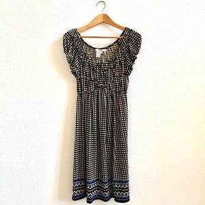 Studio M Peasant Style Dress Black and White Sz M